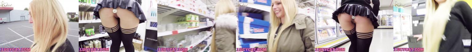 Pokręcona zdzira chodzi po sklepie z bolcem w dupie