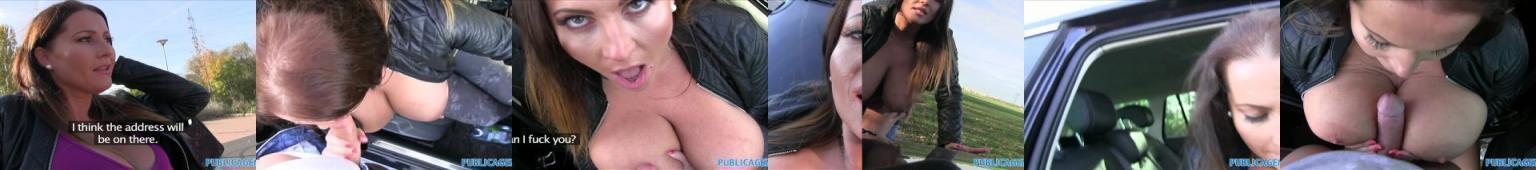 Publiczne pieprzenie jednorazowo wyrwanej laski z ogromnymi naturalnymi piersiami