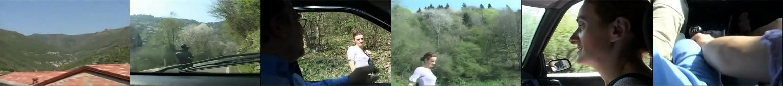 Starszy gość gwałci w krzakach autostopowiczke