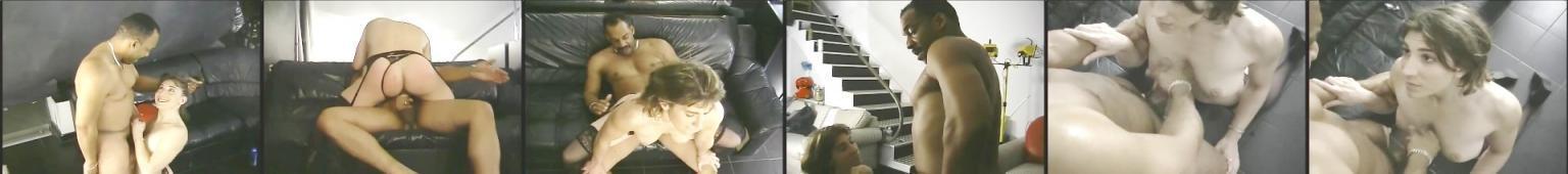 Murzyna z wąsami posuwa na kanapie kobietę ubraną w czrane pończochy