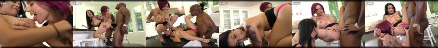 Czarnoskóry facet posuwa dwie gwiazdy porno z dużymi cyckami