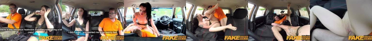 Kursantka na prawo jazdy rucha się w aucie  z egzaminatorem
