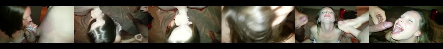 Zboczona amatorka połyka spermę z trzech fiutów