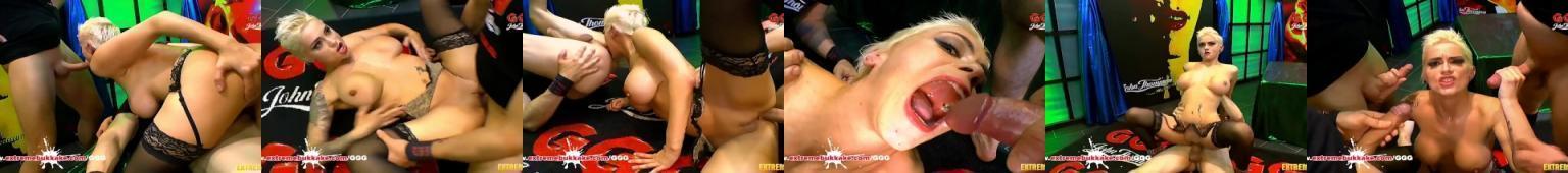 Ostry seks i bukakke z wytatuowaną blondynką
