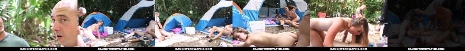 Dwóch tatuśków rucha swoje pasierbice na wycieczce pod namiotami.